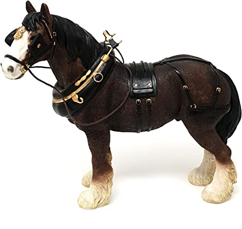 Grey Shire Cart Heavy Horse in harness ornament figurine quality Leonardo boxed