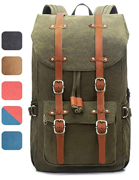 EverVanz Outdoor Canvas Leather Backpack, Travel Hiking Camping Rucksack Pack, Large Casual Daypack,