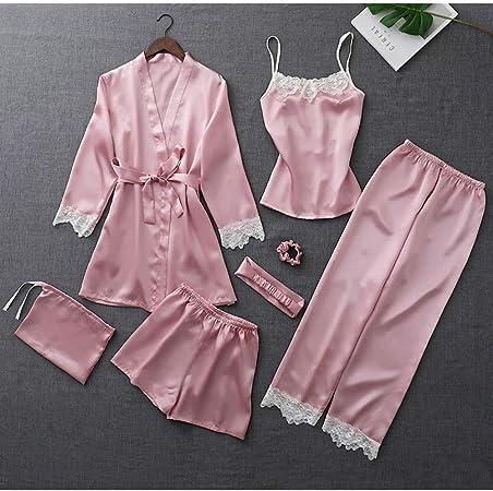 JYLW Pijamas Invierno Mujer Pijama De Seda para Mujer, 4 ...