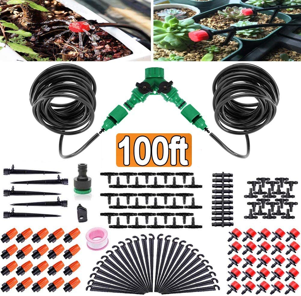 "FAMI HELPER 100ft/30M Garden Irrigation Kit - DIY Plant Watering Drip Sprinkler System with 2-Way Hose Splitter, 1/4"" Tubing Hose, 45Pcs Adjustable Emitters for Greenhouse"