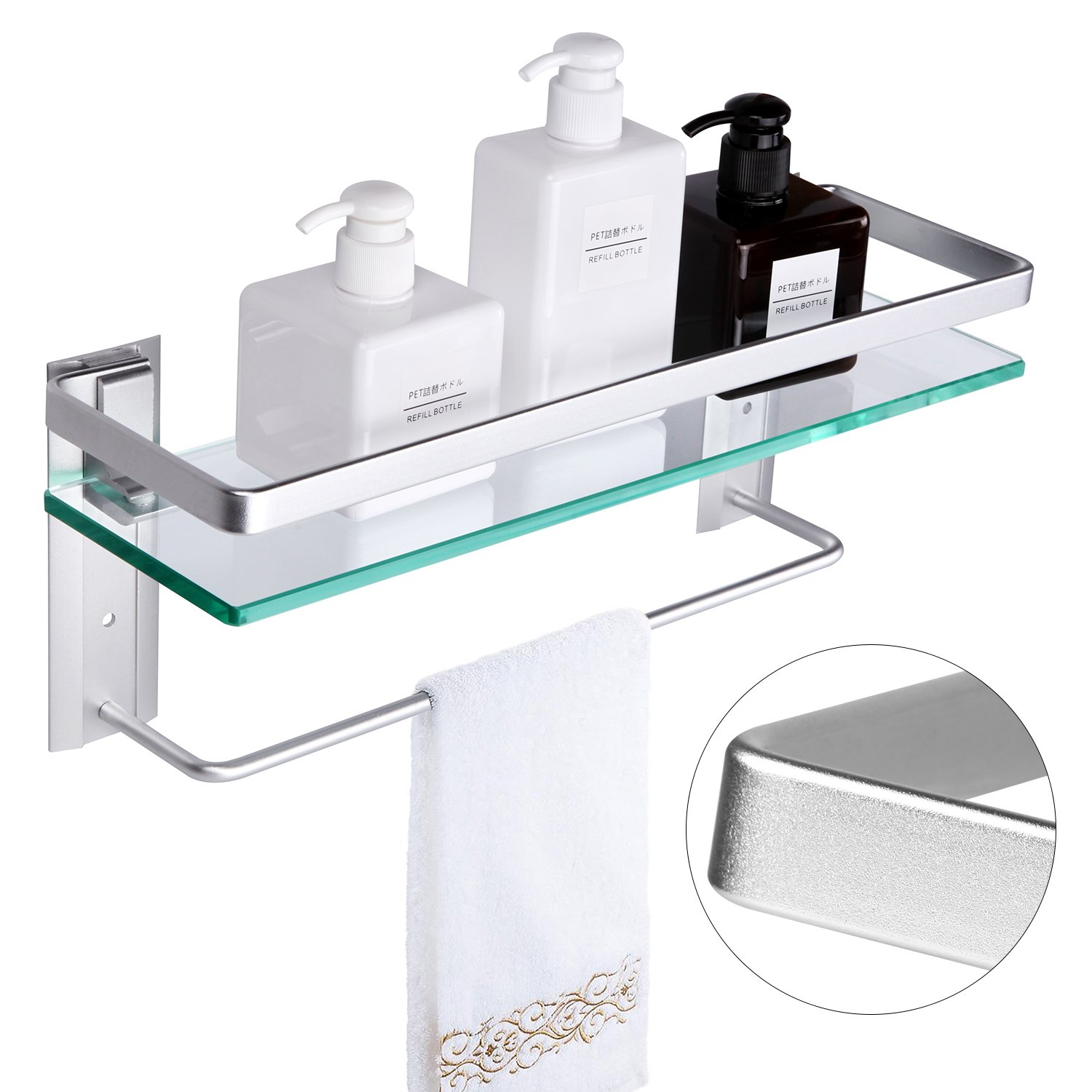 Vdomus Tempered Glass Bathroom Shelf with Towel Bar Wall Mounted Shower storage15.2 by 4.5 inches, Brushed Silver Finish (Tempered Glass) Finish (Tempered Glass)