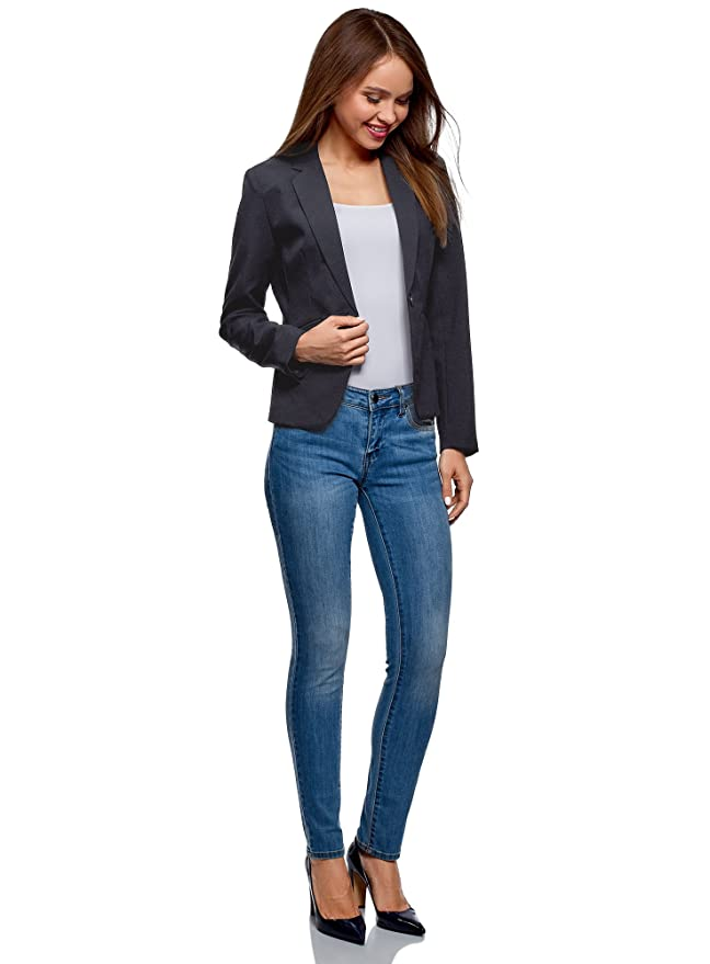 oodji Ultra Womens Basic Slim-Fit Blazer at Amazon Womens Clothing store: