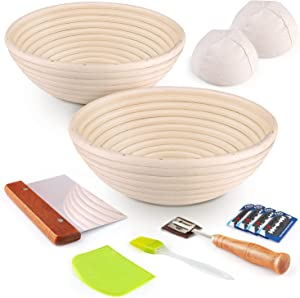 Bread Banneton Proofing Basket 2 Set- KAQINU 9 Inch &10 Inch Round Baking Bowl Kit for Sourdough with Dough Scraper, Bread Lame, Brotform Cloth Liner, Basting Brush for Professional & Home Bakers