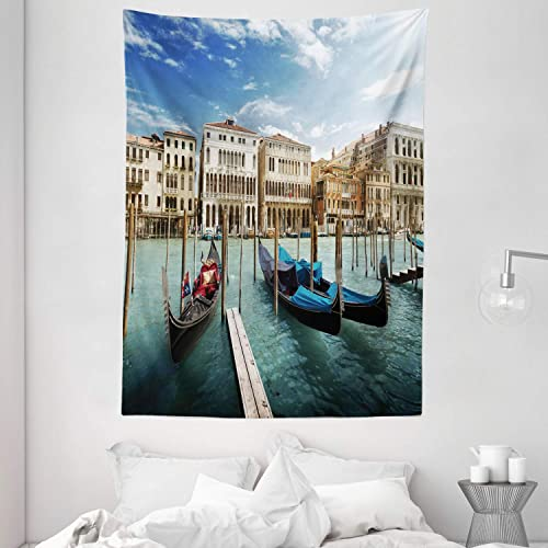 Ambesonne Italian Tapestry, Gondolas in The Venetian Adriatic Lagoon Historical Venezia Photo, Wall Hanging for Bedroom Living Room Dorm, 60 X 80 , Almond Green Sand Brown Blue