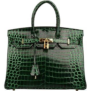 23a4df64ab06 Ainifeel Women s Patent Leather Crocodile Embossed Handbags Top Handle Purse