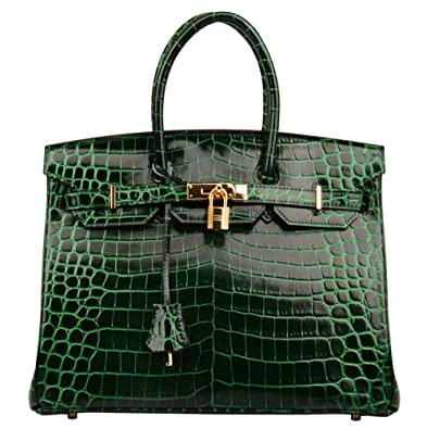 e0384e985af Ainifeel Women s Patent Leather Crocodile Embossed Top Handle Handbags (30cm