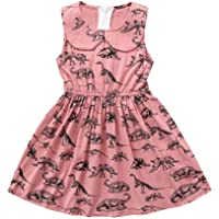 Vincent&July Baby Girls Summer Dress Dinosaur Print Lapel Sleeveless