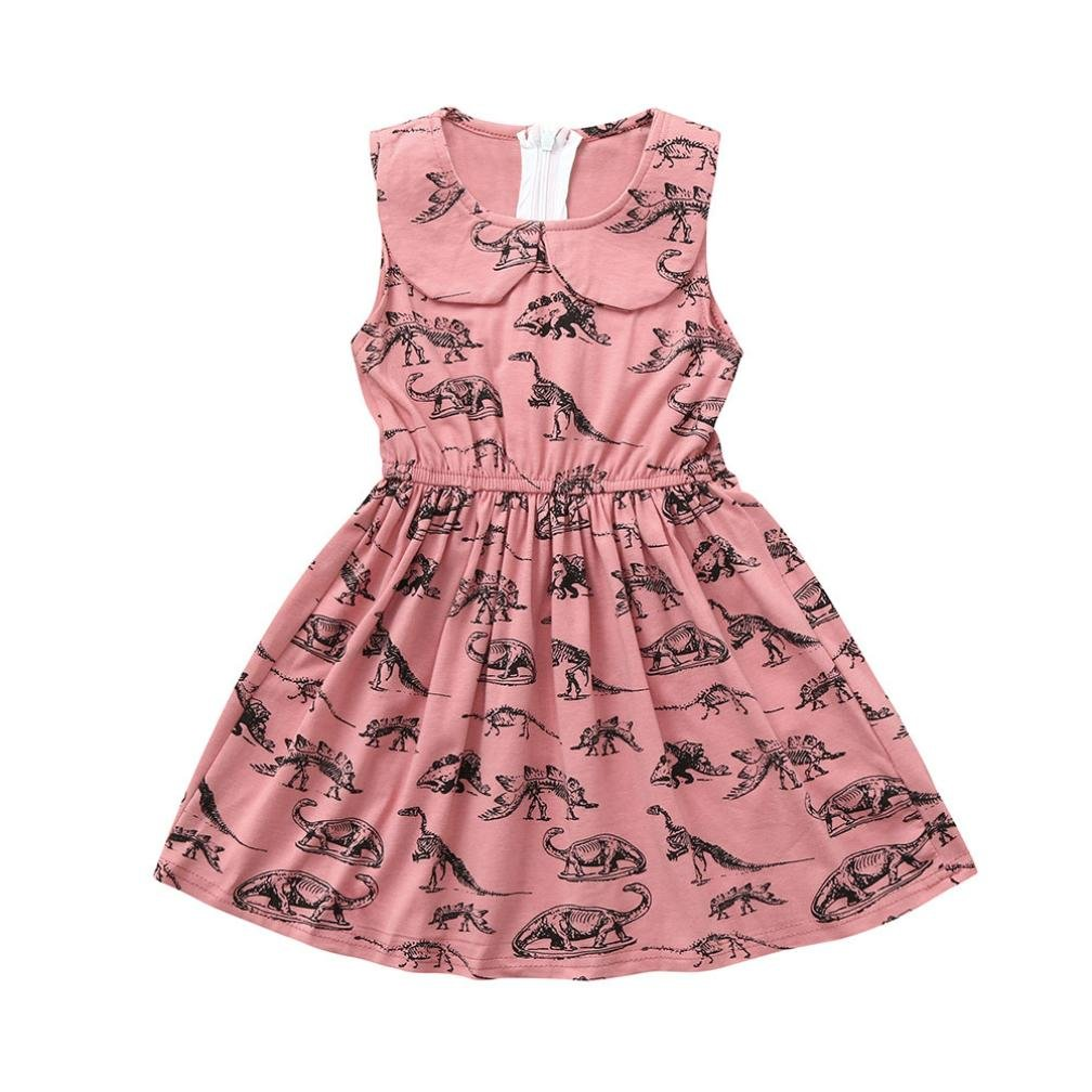 Vincent& July Baby Girls Summer Dress Dinosaur Print Lapel Sleeveless