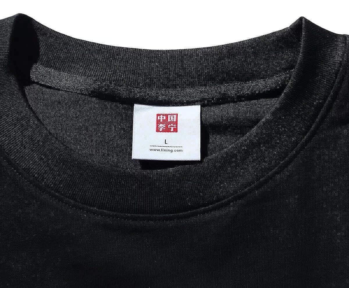 LI-NING FW Men T-Shirts Sports Jerseys 100/% Cotton Regular Fit China Lining Printing Athletic Tees Black AHSP603-2