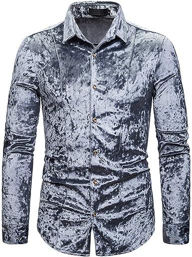Camisa de Terciopelo para Hombre, Manga Larga, Casual, Ajustada, con Botones, elástica, Formal, Elegante, única, cómoda, de Terciopelo, para Hombre: Amazon.es: Ropa y accesorios