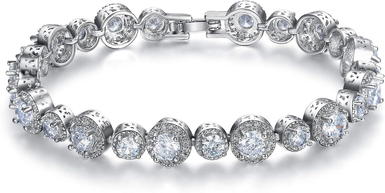 EleQueen Womens Tennis Bracelet 8mm Round Cut Gemstone Prong Cubic Zirconia Bridal Bracelet 7.5 Inch