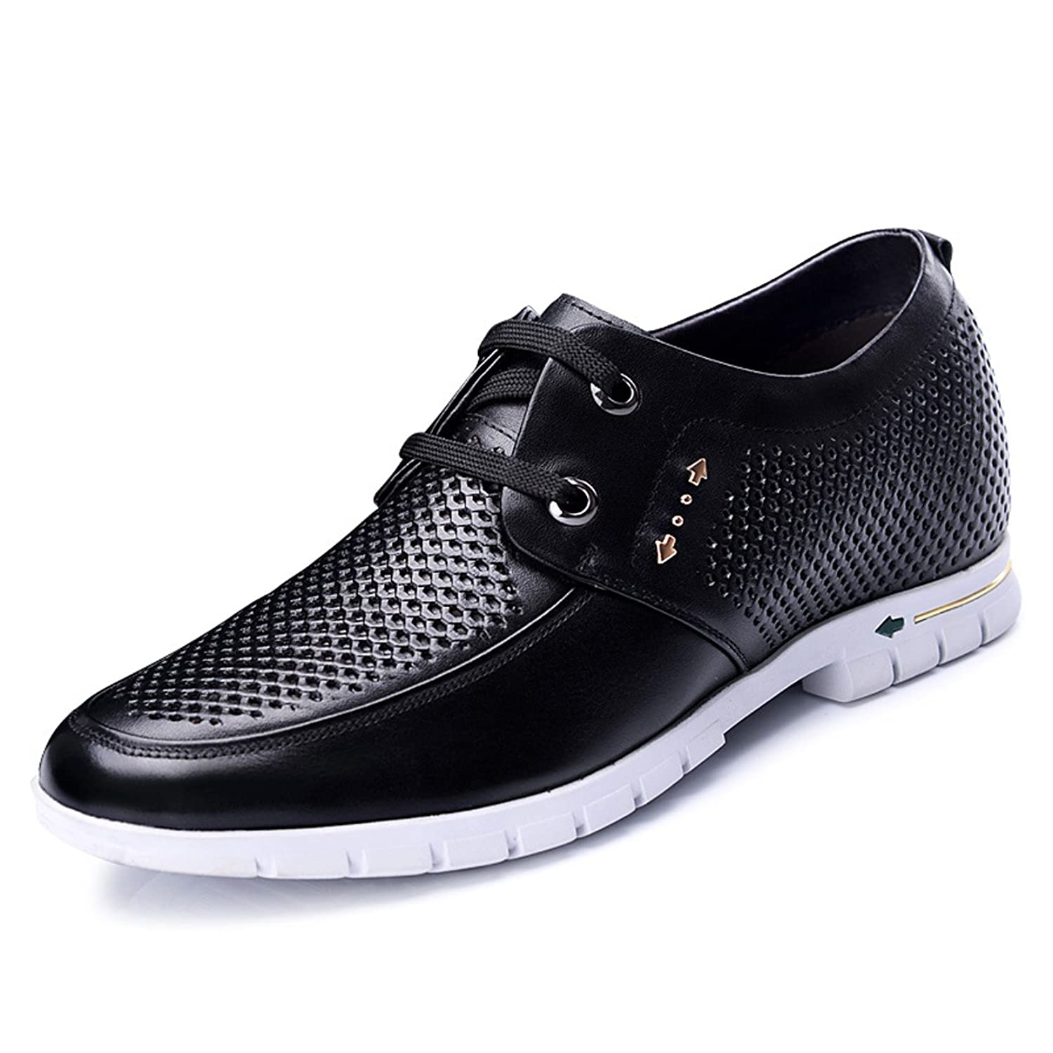 2.36 Inches Taller - Men's Height Increasing Elevator Oxfords-Black Breathable Leather Casual Shoes