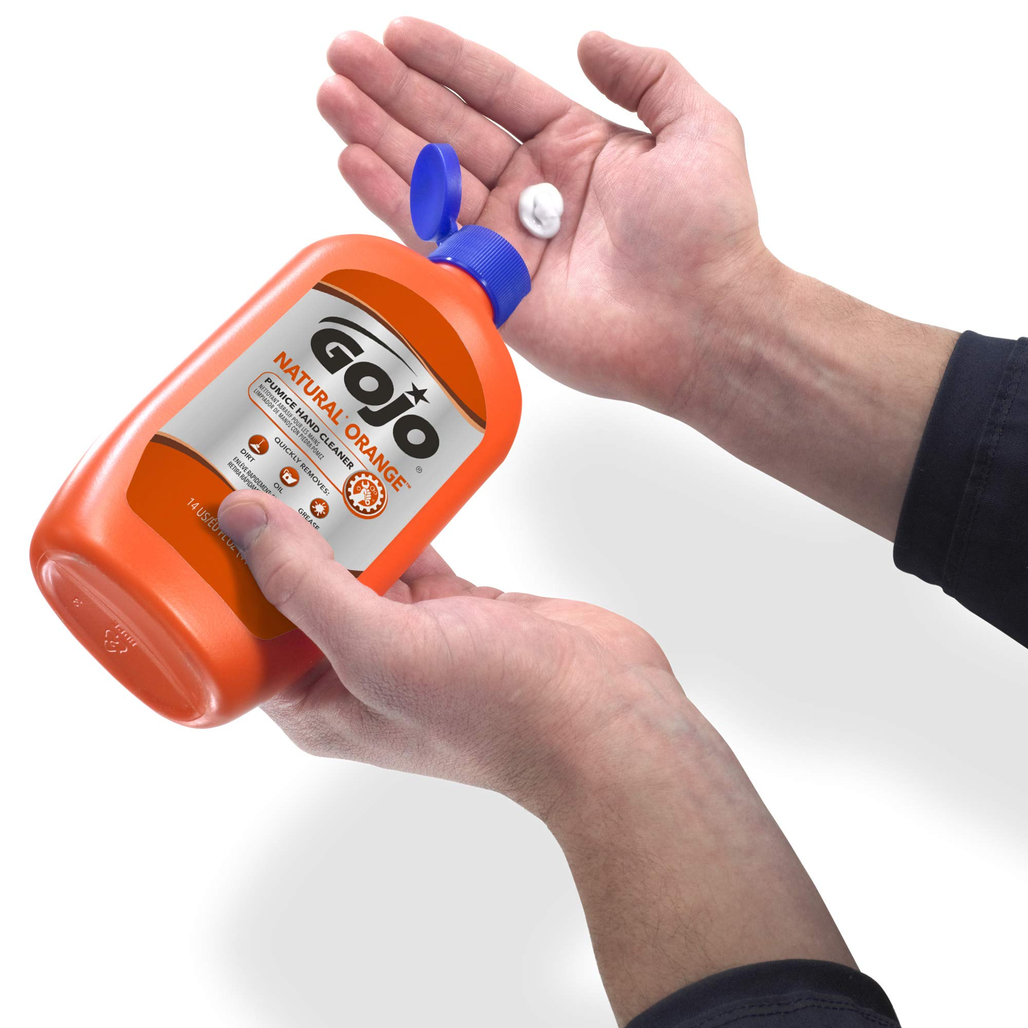 GOJO NATURAL ORANGE Pumice Hand Cleaner, 14 fl oz Quick-Acting Lotion Hand Cleaner Flip Cap Squeeze Bottles (Case of 12) - 0957-12 by Gojo (Image #5)