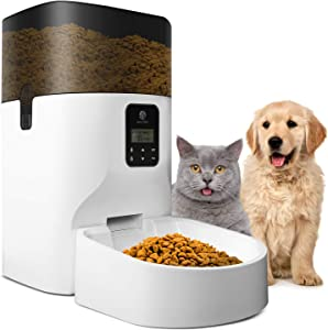 Automatic Cat Feeder, 7L Food Dispenser for Cats and Dogs, Portion Control, Voice Recorder, Programmable Timer for up to 4 Meals per Day