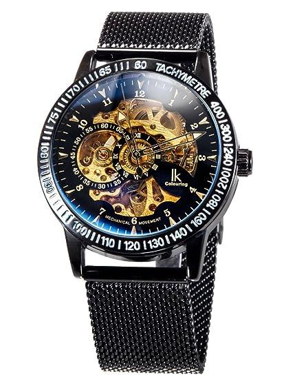 Alienwork Reloj Mecánico Automático Relojes Automáticos Hombre Mujer Acero Inoxidable Negro Analógicos Unisex Impermeable Esqueleto: Amazon.es: Relojes