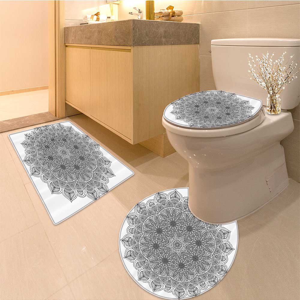 3 Piece Anti-slip mat set Monochrome Embellished Pattern Ancient a Heritage Henna Cosmos Icon Artwork Fabric S Non Slip Bathroom Rugs