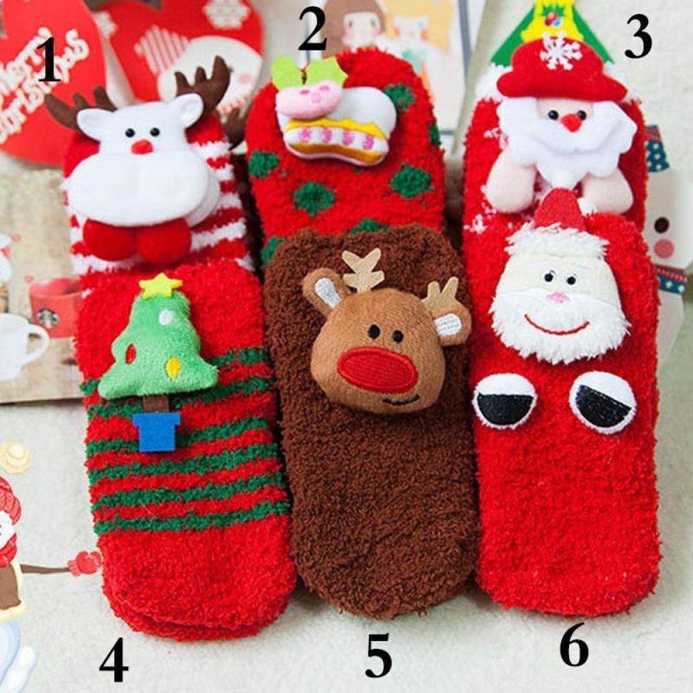 BENHAI 1pair Cute Indoor Floor socks Slip Santa Deer Snowman Socks Shoes Newborn Baby Boy Girl Anti Christmas Shoes Soft