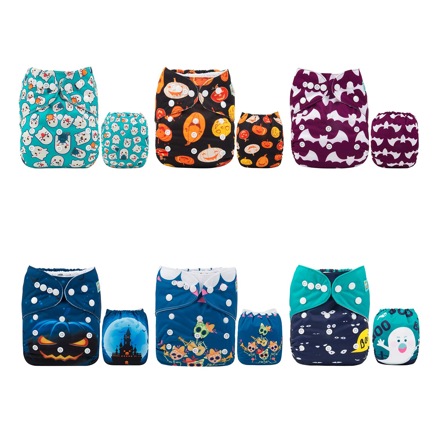 ALVABABY Cloth Diaper, One Size Adjustable Washable Reusable for Baby Girls and Boys 6 Pack with 12 Inserts (Sets 6DM63, All in one)