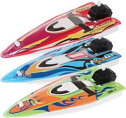 Plastic Inflatable Wind Up Speedboat  Toys Kids Water Fun Random Color