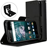 ZTE Warp 7 Wallet Case, REDshield [BLACK] Luxury Faux Saffiano Leather Front Flip Cover with Built-in Card Slots, Magnetic Flap for ZTE Warp 7