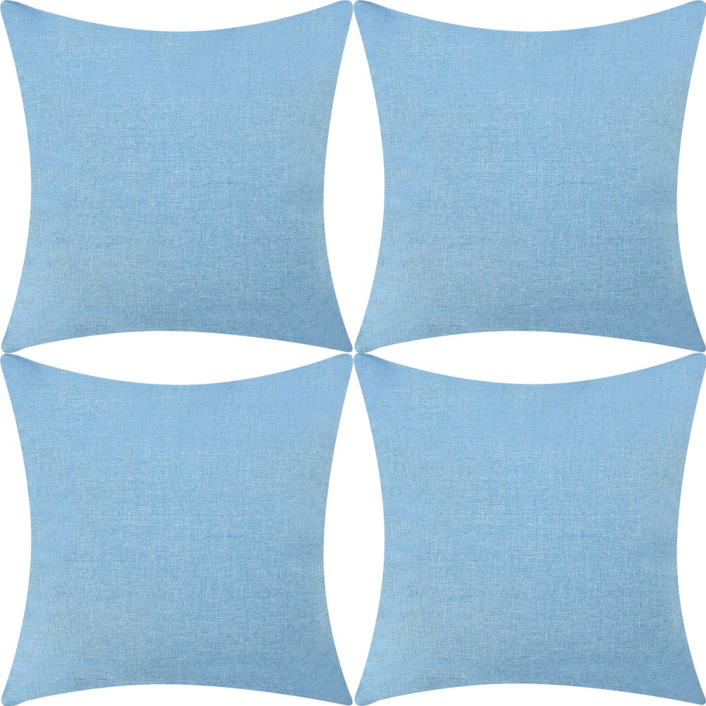 DEZENE Stylish Linen Cushion Covers - Set of 4 - Soft and Exquisite Sofa Throw Square Pillow-cases, 18 x 18 inch, Linen DIANG HOME XMBZ-LN6