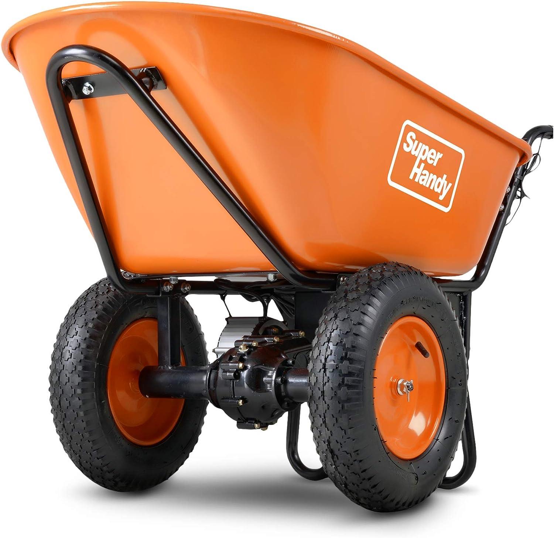 SuperHandy Wheelbarrow Utility Cart Electric 24V DC 330lbs Max Load Barrel Dump Material Debris Hauler (Amazon Exclusive)