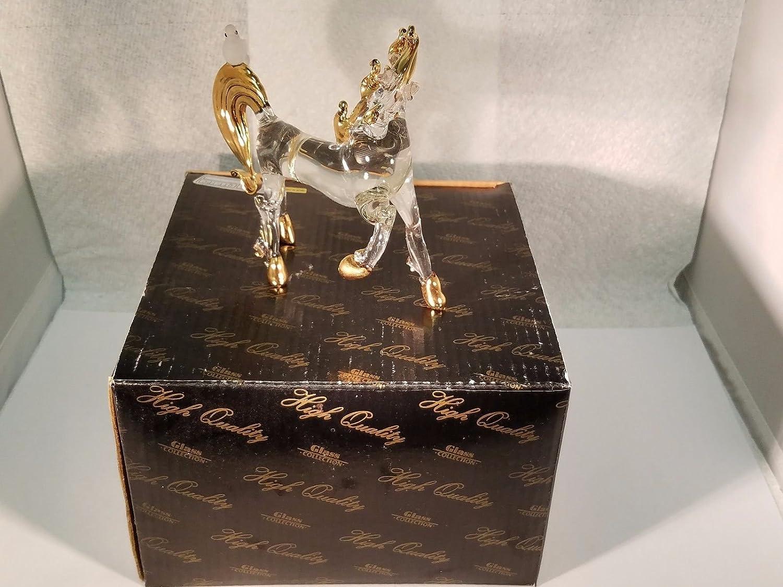 Feng Shui Qilin Hand Blown Glass Figurine Animal Decor Ornament Horse & Dove