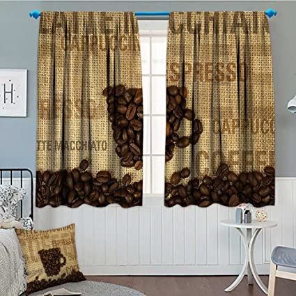 Kitchen Decor Blackout Window Curtain Coffee Beans Shaped Mug and Coffee  Types Letterings Art Print Customized Curtains 52\