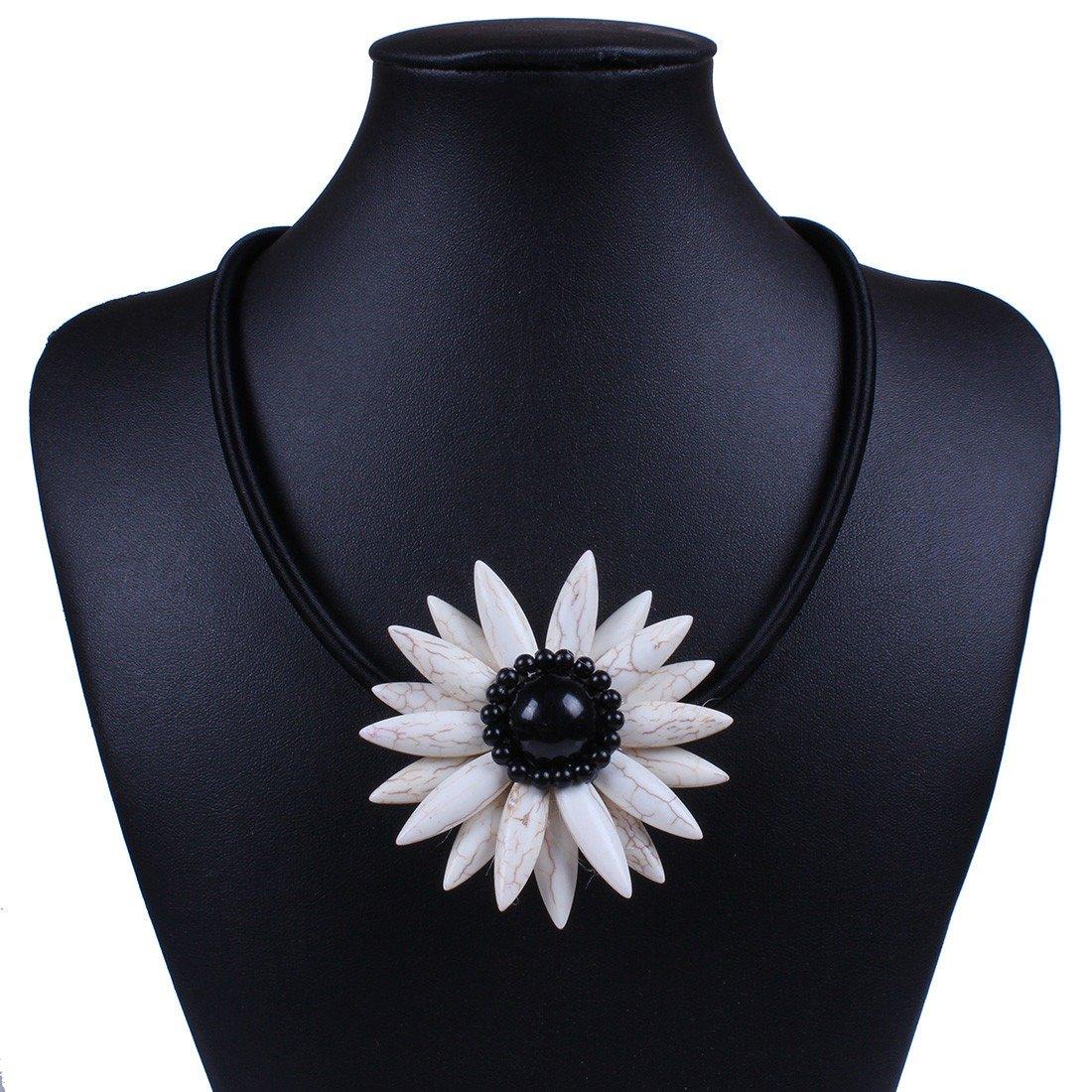 Qiyun Handmade Black Rope Cord Turquoise Blue Stone Bead Flower Pendant Necklace Noir Corde Cordon Bleu Turquoise Fleur Pierre Collier W005N1177