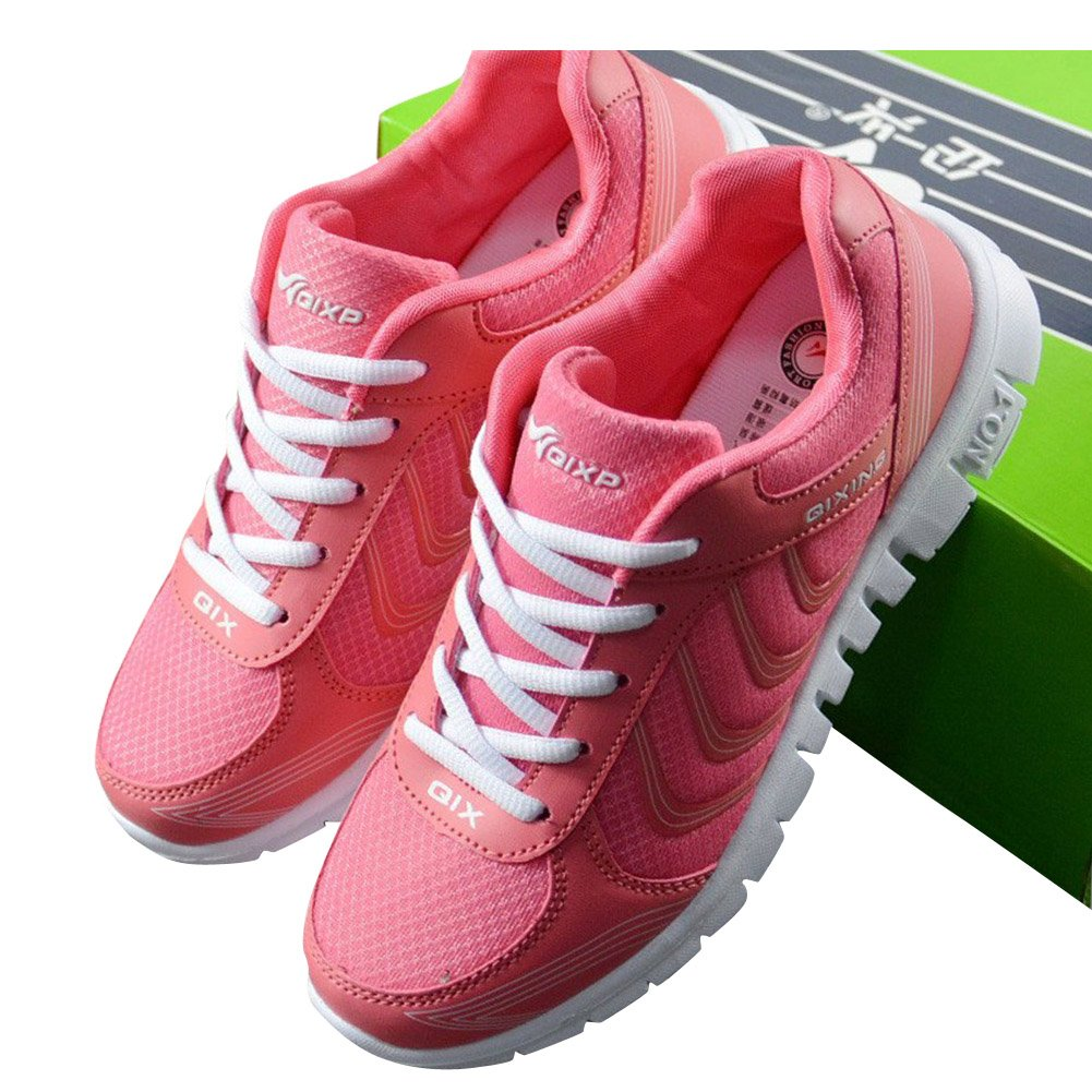 DUOYANGJIASHA Women's Athletic Mesh Breathable Casual Sneakers Lace Up Running Comfort Sports Fashion Tennis Shoes Rose Red by DUOYANGJIASHA