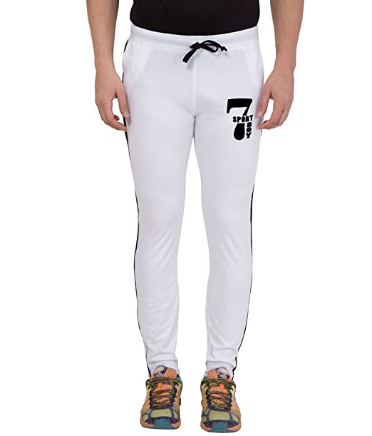 quality products utterly stylish various styles American-Elm Men's White Cotton Slim Fit Printed Track Pant ...