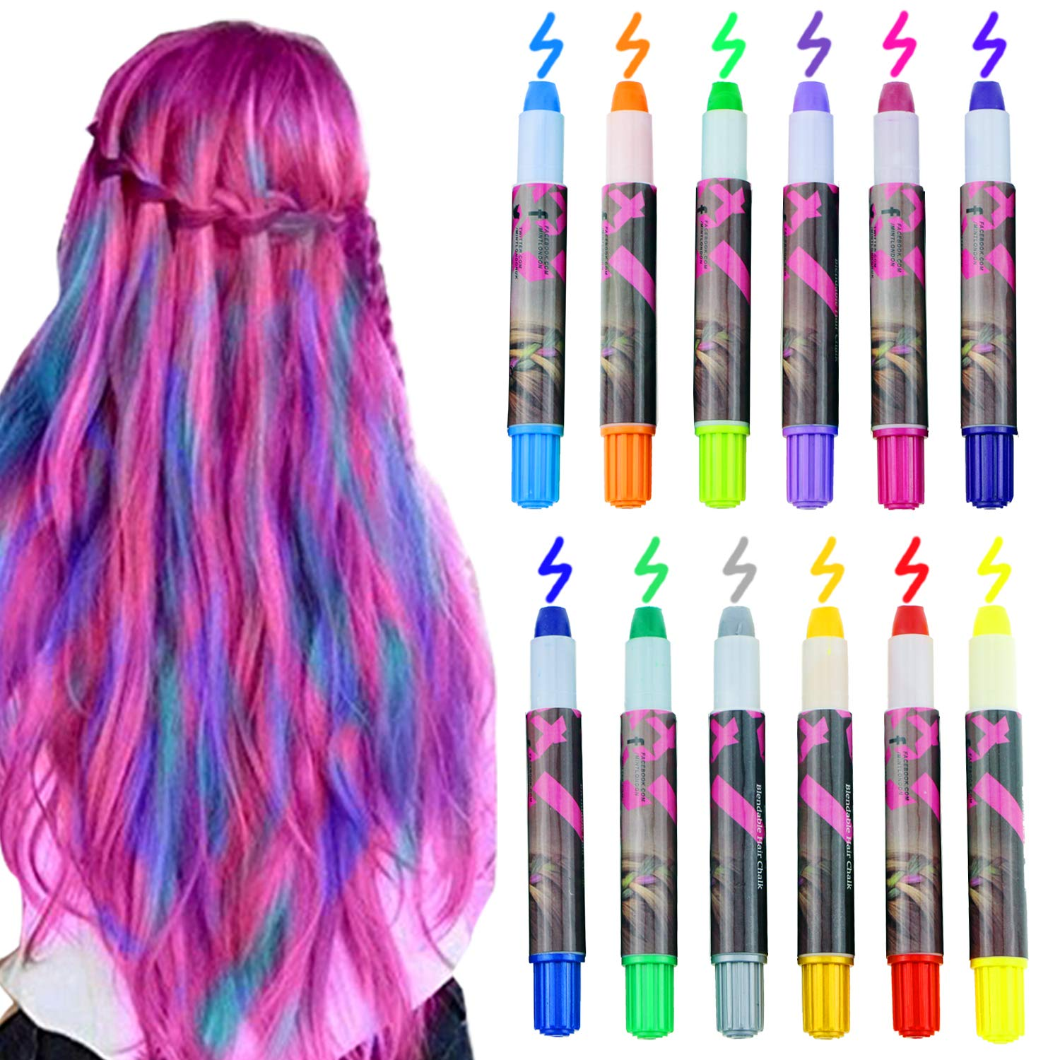 Amazon Com Bearbro 12 Color Temporary Hair Chalk Gift Set For Kids Colorful Temporary Portable Hair Coloring Chalk Pens Christmas Birthday Gifts Present For Girls 12 Color Beauty
