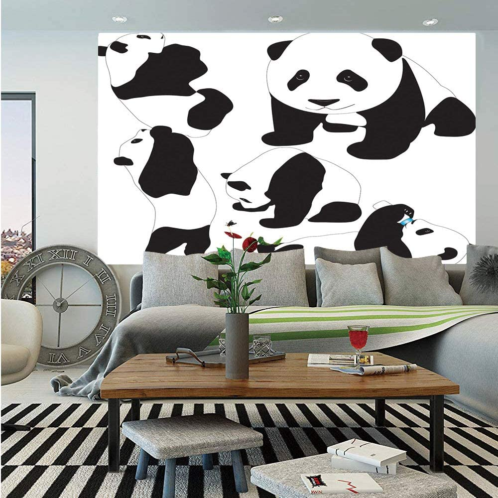 Amazon Com Sosung Zoo Wall Mural Drawing Of Baby Pandas Milk Bottle Fly Cute Adorable Animal Figures Child Mammal Self Adhesive Large Wallpaper For Home Decor 55x78 Inches Black And White Home Kitchen