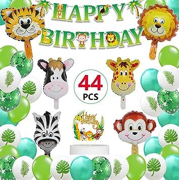 Fiesta Cumpleaños de la Jungla Safari Animales en la Selva Temática Deco Feliz cumpleaños Bandera Jumbo Globos de Animales Cupcake Topper para Jungle ...