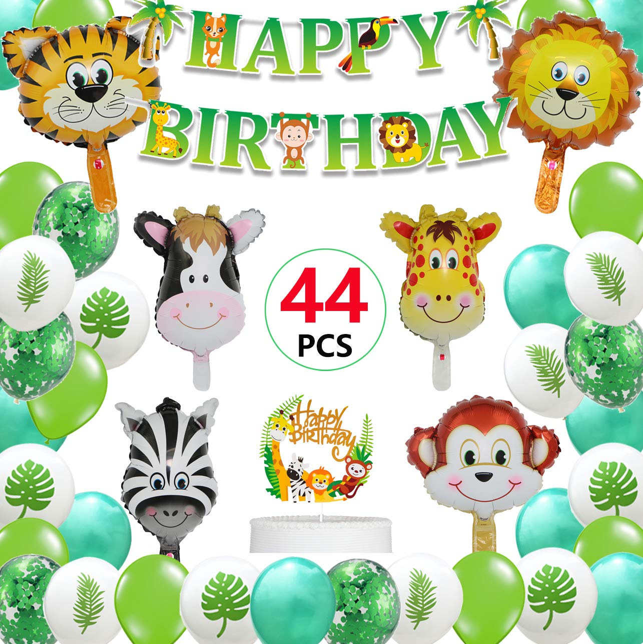 Jungle Safari Birthday Party Decorations, Happy Birthday Banner with Jumbo Forest Animal Balloons Cupcake Topper for Kids Boys Zoo Birthday Party Theme Decorations