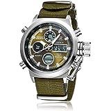 OHSEN 腕時計 メンズ LED アナデジ スポーツ アラーム 日付曜日 クロノグラフ 多機能ウォッチ-アーミーグリーン