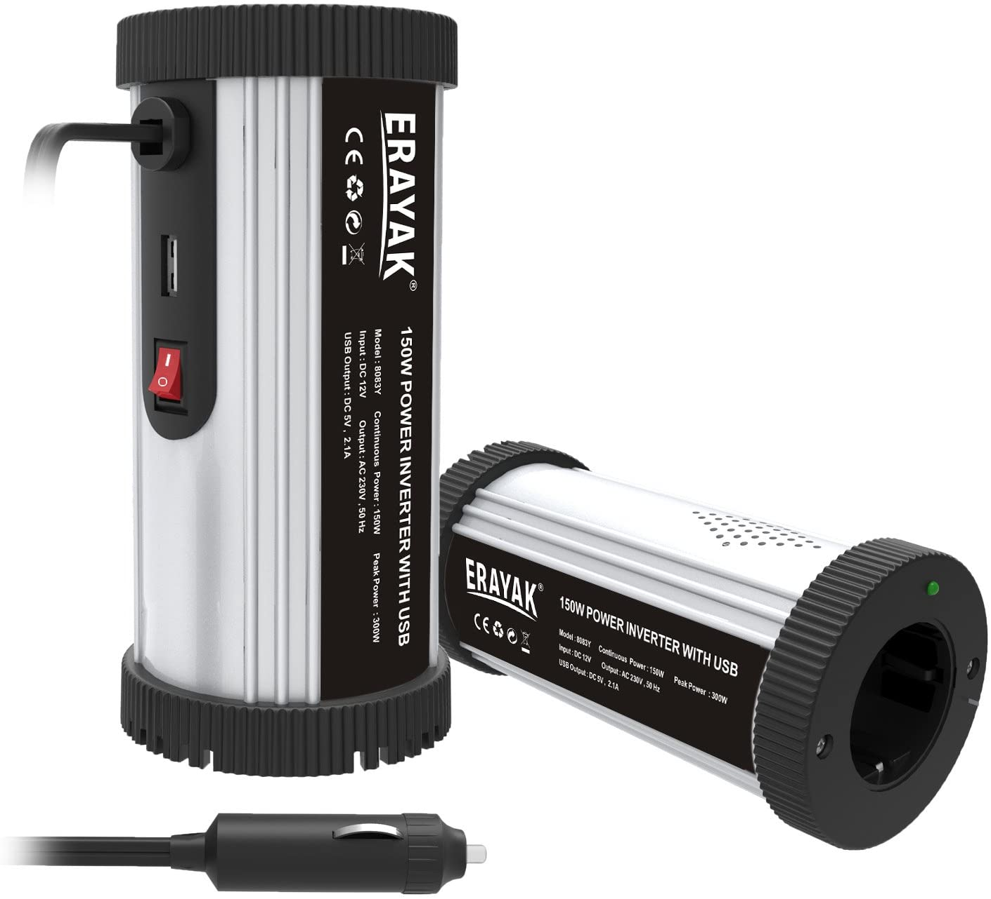 ERAYAK 150 W con porta USB picco 300 W Trasformatore Convertitore Inverter di potenza 12V a 220V//240V certificato T/ÜV presa EU