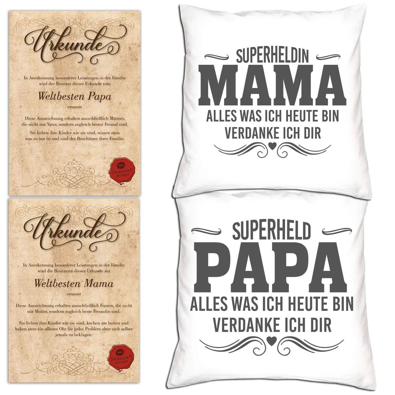 SO-GmbH Geschenkset 4 Teile   2 Kissen - 2 Urkunden Mama & Papa Geschenk für Eltern zu Weihnachten - Farben  Weiss & Weiss