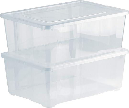 Grizzly 2 x Caja de Almacenaje con Tapa de 10 L - Cajón de Plástico Transparente Apilable - Caja Multiusos Organizador de Armarios para Ordenación de Ropa: Amazon.es: Hogar
