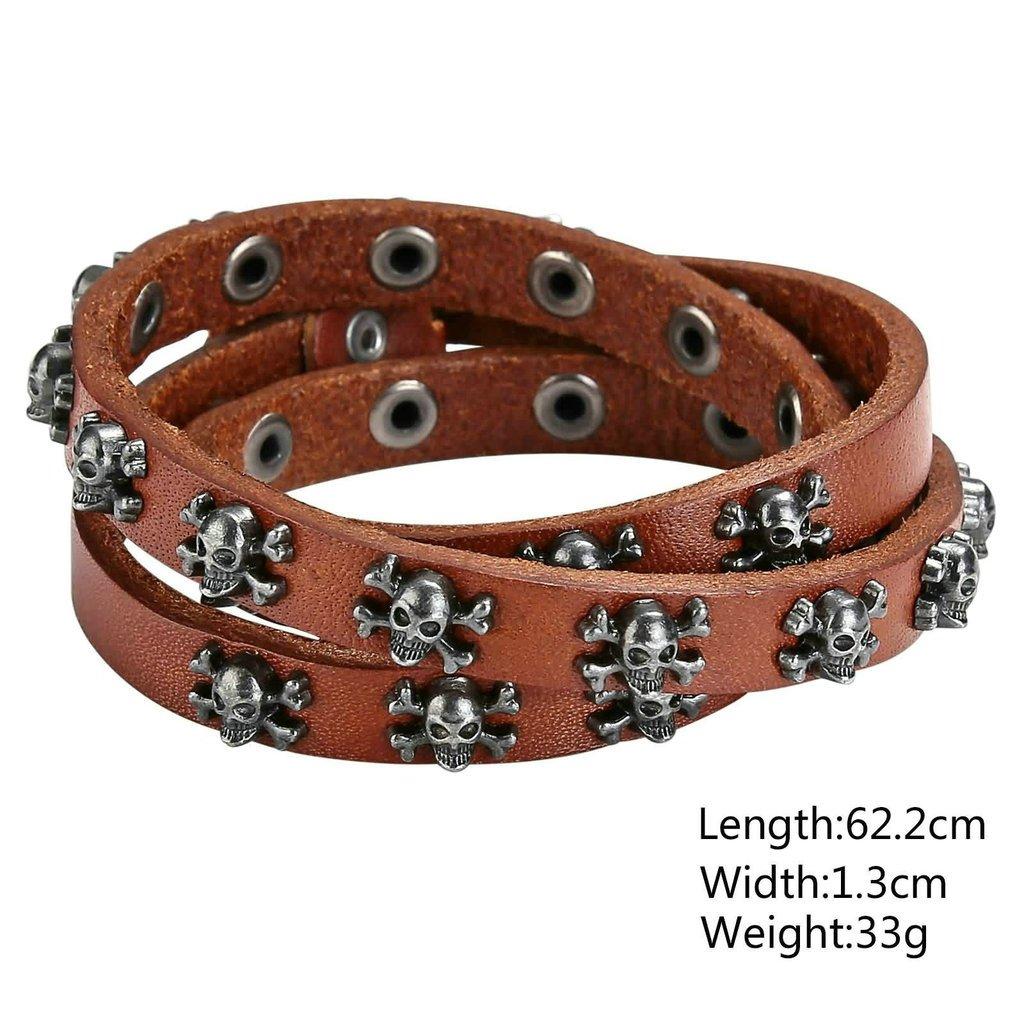 Daesar Mens Stainless Steel Bracelet Leather Biker Skull Cuff Bracelet Adjustable Black 62.2x1.3CM
