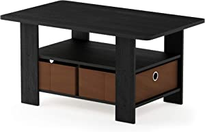 FURINNO Andrey Coffee Table with Bin Drawer, Americano/Medium Brown