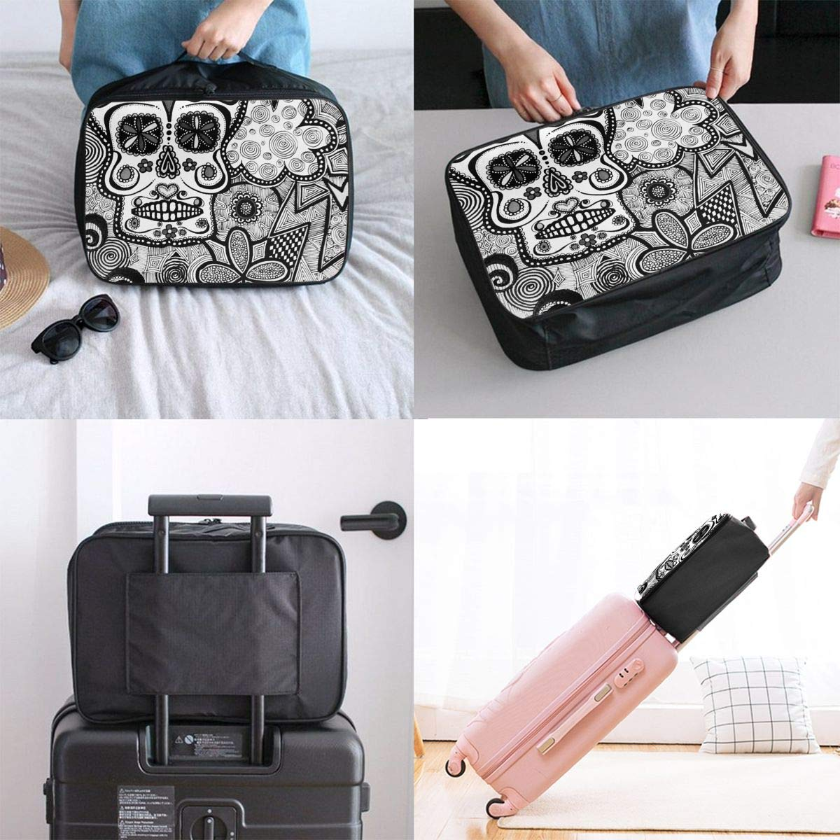 Black White Doodle Sugar Skull Travel Fashion Lightweight Large Capacity Duffel Portable Waterproof Foldable Storage Carry Luggage Tote Bag