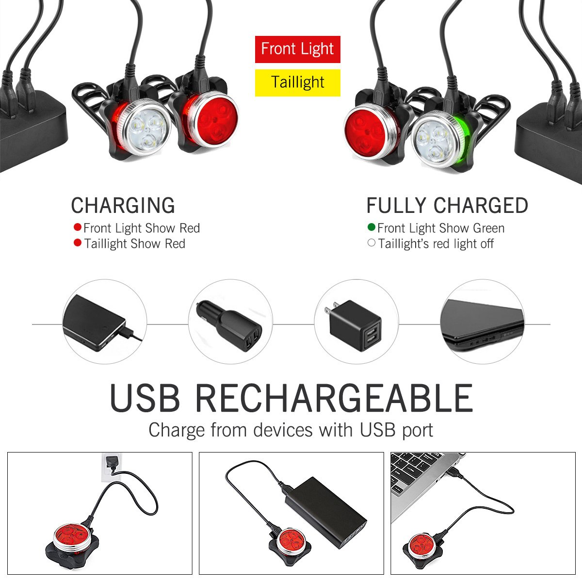 SOKLIT USB Rechargeable Bike Light Front and Rear Waterproof IPX4 Super Bright Bicycle LED Light Set 120 Lumen with 650mah Lithium Battery, 4 Light Mode Options, Including 6 Strap and 2 USB Cables by SOKLIT (Image #4)