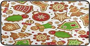 Vdsrup Christmas Cookies Gingerbread Door Mat Winter Snowflakes Non Slip Kitchen Floor Mats Indoor Welcome Doormats Durable Front Door Porch Entrance Rugs Home Decor 39 X 20 Inch