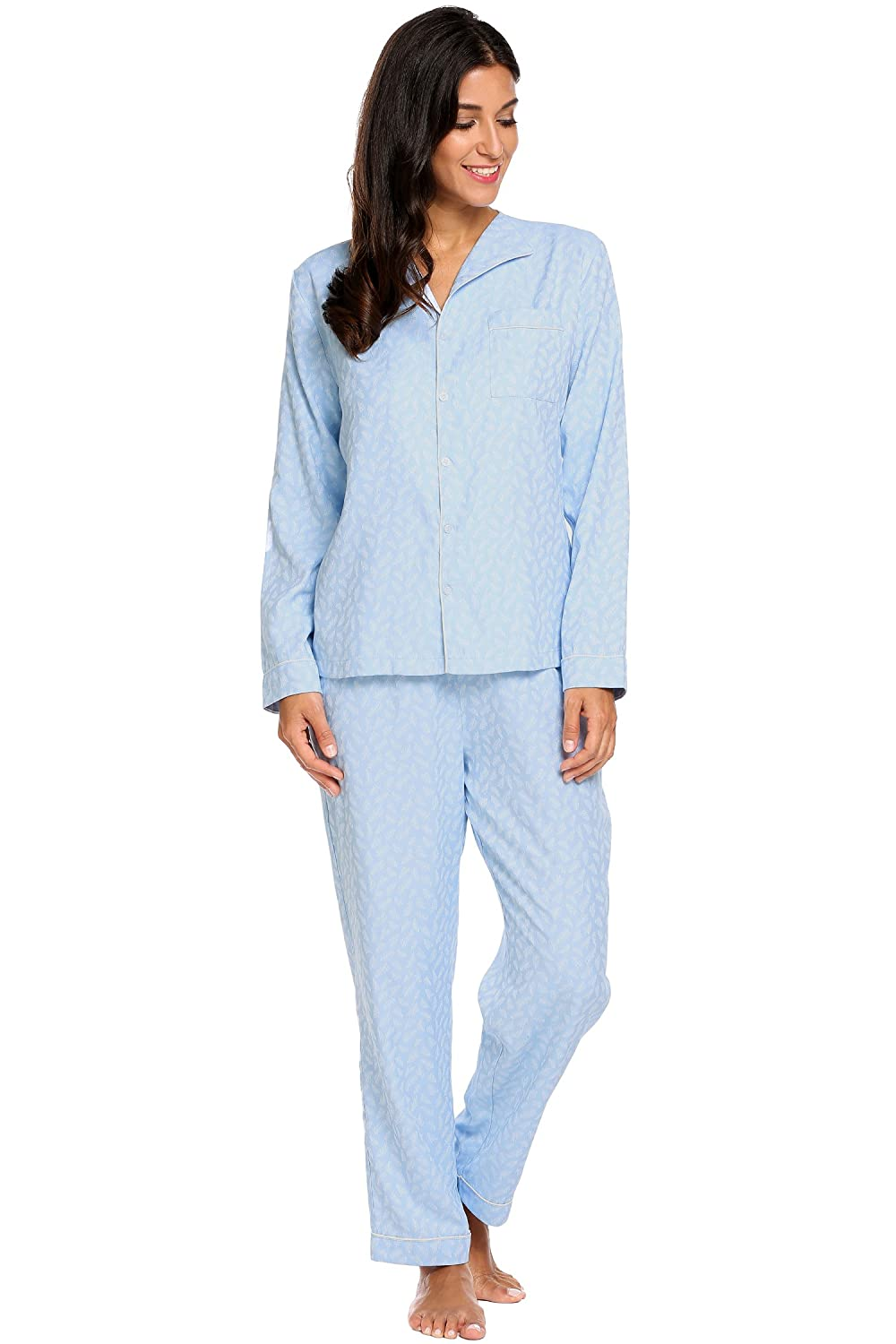 Ekouaer Women's Long Sleeve Top Pant Comfort Sleepwear Long Sleeve Pajama AMK005406