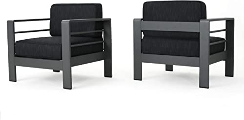 Christopher Knight Home Crested Bay Outdoor Aluminum Club Chairs with Water Resistant Cushions, 2-Pcs Set, Grey Dark Grey