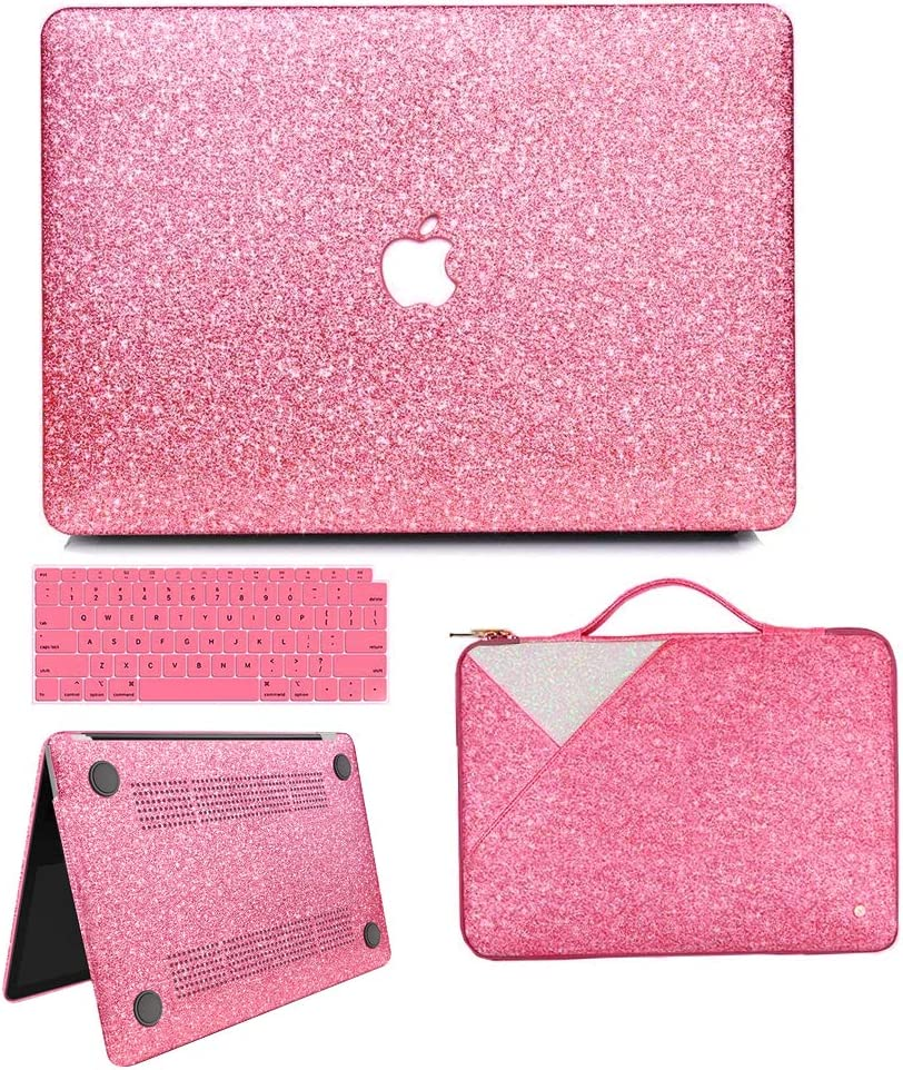 MacBook Air 13 Inch Case 2020 2019 2018 Release A2179/A1932, Anban Glitter Bling Smooth Protective Case & Glitter Laptop Sleeve & Keyboard Cover Compatible for MacBook Air 13 Inch with Touch ID