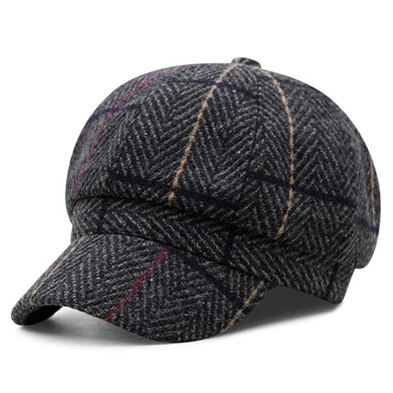 a4af9f26a76 UKURO Herringbone Newsboy Cap Hat Men Brown Wool Women British Style ...