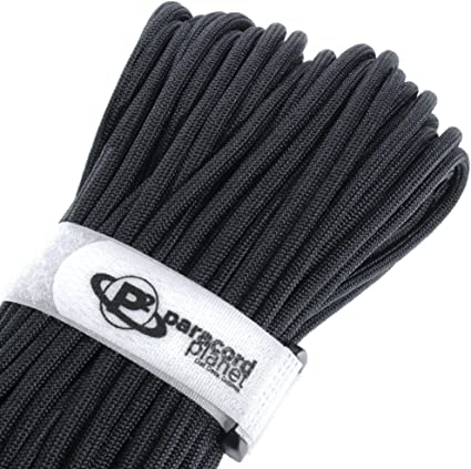 PARACORD PLANET 50 Feet 750 Lb Type Iv Paracord Authentic Parachute Cord Stronger Than Mil-C-5040-H Military Grade Paracord By 200 Pounds Black