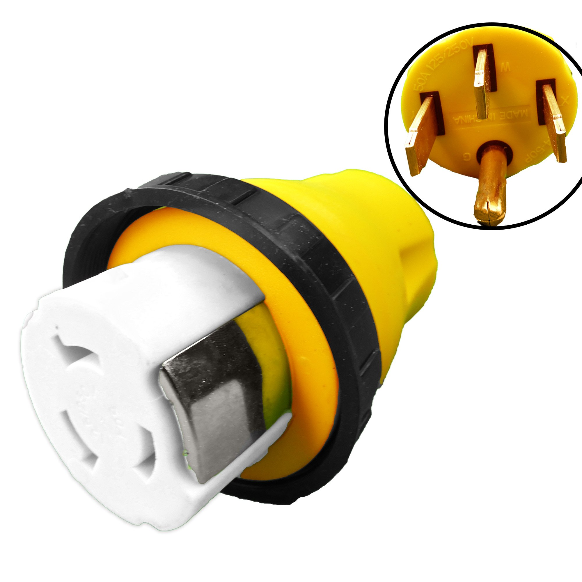 Leisure Cords 50A Male To 50Amp Female Twist Adapter RV Locking Power Cord Male to Female Camper Generator Cable Adapter Electrical Converter Plug (50A Male To 50A Female) by LeisureCords (Image #4)